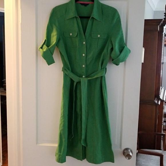 good texture diverse styles hot new products Grass green linen Boden shirtdress UK size 12L
